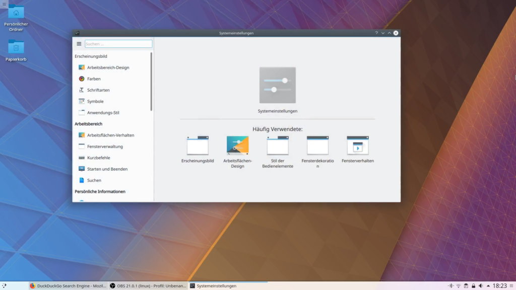 Desktop KDE nach Start