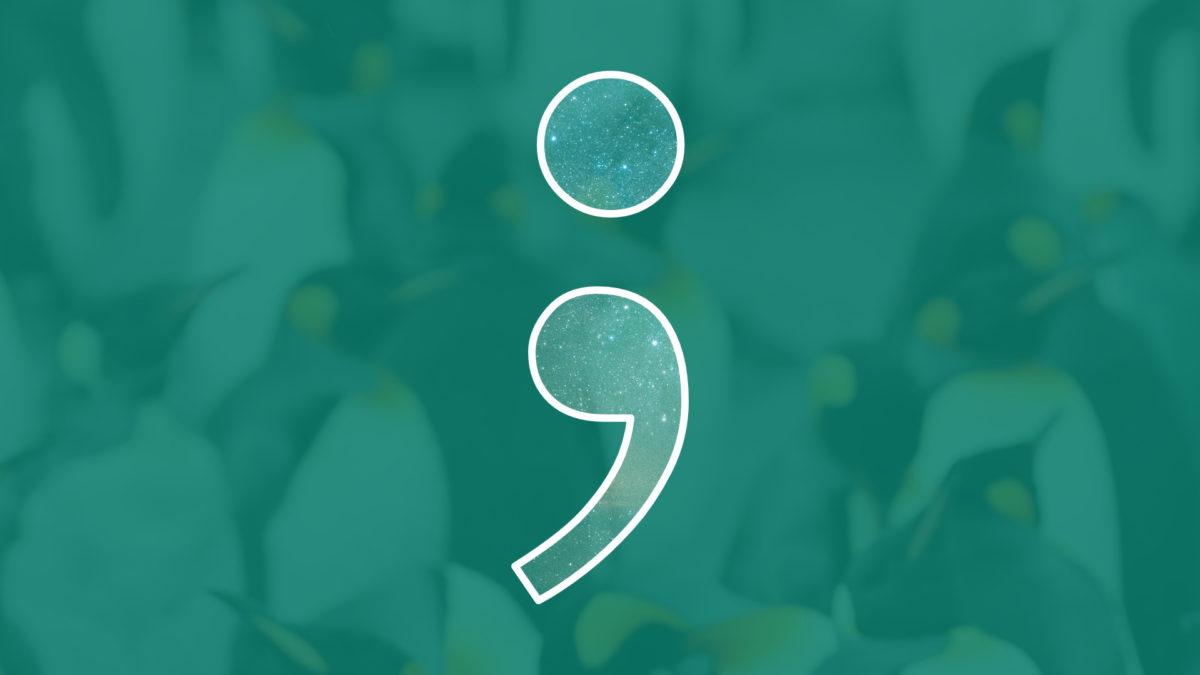 Pinguine hinter Semikolon-Logo